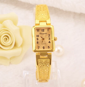 Women Vintage Luxury Gold + Silver Watches Elegant Quartz Fashion Rectangle Dial Watch Carved Pattern Bracelet Casual WristWatch