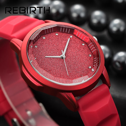 Starry sky tonneau dial soft silicone women watches simple Diamond elegant ladies wristwatches REBIRTH brand red quartz-watch