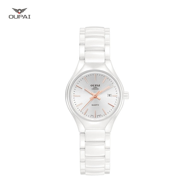 Ceramic watch Fashion Casual Women quartz watches relojes mujer OUPAI brand luxury wristwatches Girl elegant Dress clock RAD05LO