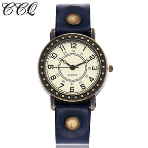 Vintage Fashion Simple Dial Watch Casual Cow Leather Quartz Watch Women Wristwatches Female Clock