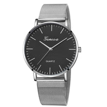 Load image into Gallery viewer, Modern Fashion Black Quartz Watch Men Women Mesh Stainless Steel Watchband High Quality Casual Wristwatch Gift for Female