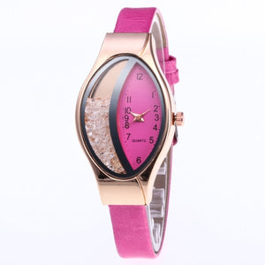 Brand Women's Bracelet Watches Crystal Rose Gold leather Ladies Casual Quartz Dress Wristwatches Clock Female relogio masculino
