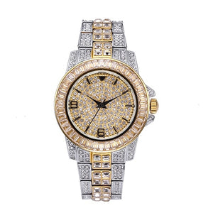 Top Brand Luxury Missfox Rolexable Waterproof Watch Full Diamond Hublo Unisex Quartz Watch With Box