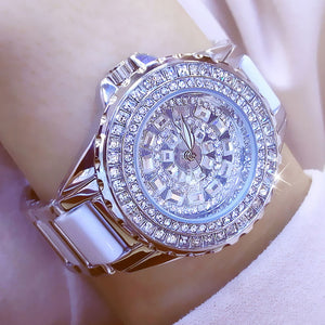 Fashion ladies wrist watches Luxury  Brand Crystal Dress Women Watch Shinning Diamond Rhinestone Ceramic Wristwatch Quartz Watch