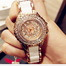 Load image into Gallery viewer, Fashion ladies wrist watches Luxury  Brand Crystal Dress Women Watch Shinning Diamond Rhinestone Ceramic Wristwatch Quartz Watch
