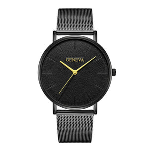 Simple Women Men Watches Top Brand Luxury Stainless Steel Mesh Quartz Wristwatches Fashion Clock ladies Watch Montre Femme 2018