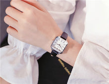 Load image into Gallery viewer, Ulzzang Vintage Square Leather Women Watches Ladies Silver Quartz Wristwatches Female Stainless Steel Mesh Bracelet Watch Clock