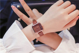 Ulzzang Vintage Square Leather Women Watches Ladies Silver Quartz Wristwatches Female Stainless Steel Mesh Bracelet Watch Clock