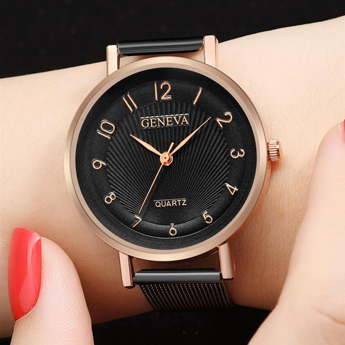 2018 New Design GENEVA Watch Fashion Female Clocks Women Luxury Stainless Steel Analog Quartz Wristwatch Silver Dress Watches