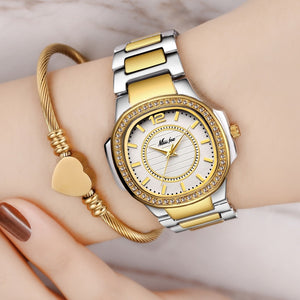 New 2019 Hot Wrist Watch For Women Stainless Steel Gold Female Watch Diamond Wristwatch