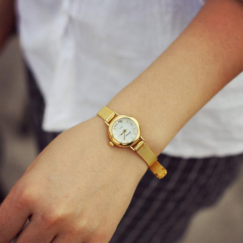 2018 fashion casual watches Women Quartz Analog Wristwatch Lady Female Golden Mesh Strap Dress Bracelet Watches Drop Shipping D#