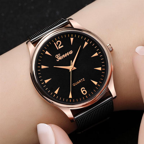 2018 GENEVA Women Luxury Watch Mesh Band Stainless Steel Analog Quartz Wristwatch Lady Girl's Minimalist Watches Female Gift