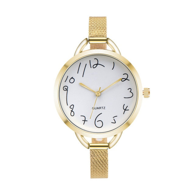 Minimalist stainless steel New Fashion Style Leather Watch Women Watches Female Dress Wristwatches Small Dial 3 Colors @F