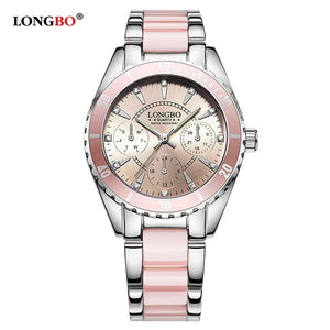 Ladies luxurious watches LONGBO Brand Watch Women Luxury female Ceramic Alloy Bracelet wristband Wristwatch with high quality
