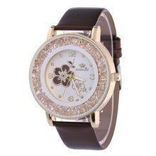 Load image into Gallery viewer, Fashion Luxury Ball Diamond Rose Pattern Leather Belt Quartz Watch Bracelet Rhinestone ladies dress wristwatches female clock