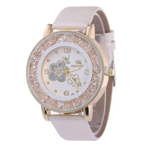 Fashion Luxury Ball Diamond Rose Pattern Leather Belt Quartz Watch Bracelet Rhinestone ladies dress wristwatches female clock