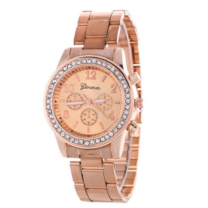 New Fashion Women Dress Rhinestone Quartz Watch Rose Gold Watch Female Stainless Steel Alloy Wristwatches Gift 2017 New Hot