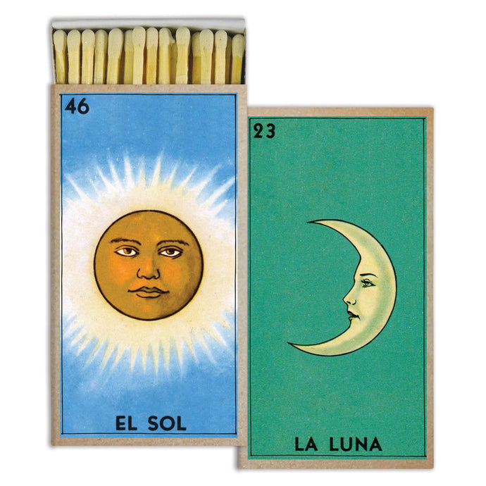 Box of matches with la luna illustration on one side and el sol illustration on other side