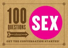 100 questions about sex.  Brown background, pink circle with sex text in center.
