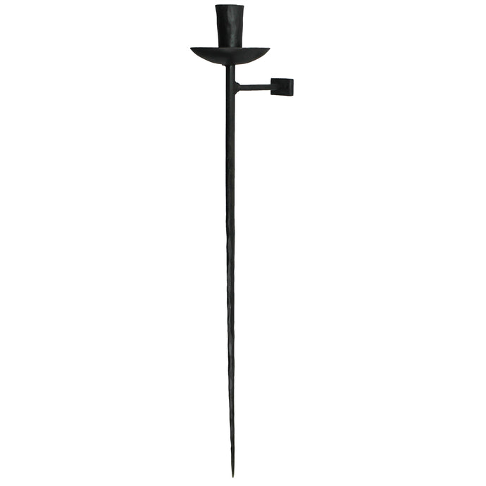 black hand forged wall sconce, single taper holder, long thin base