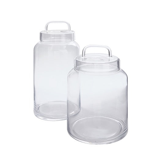 Set of glass jars with glass top