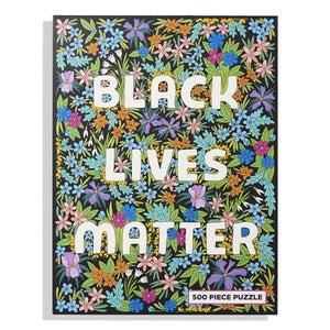 Black Lives Matter puzzle with colorful wildflowers pattern.
