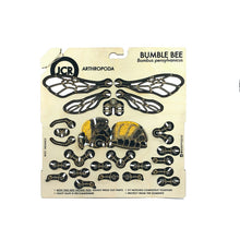 Flat unassembled model of bumble bee, screen printed on birch wood