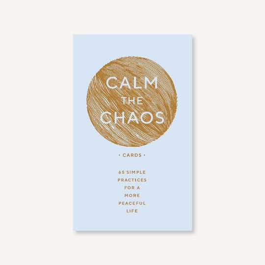 Calm the Chaos Cards. Gold text on light gray box