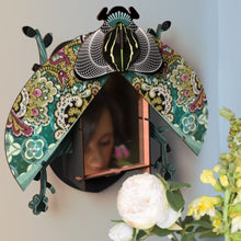 Charlie beetle mirror wall cabinet, wings open with mirror inside,mint green, purple and black patterns
