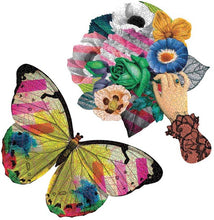 Butterfly shaped puzzle and whimsical floral and hand puzzle pattern.