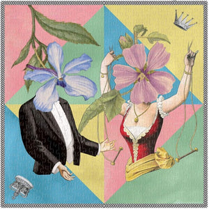 Christian Lacroix puzzle, whimsical illustrated art depicting male & female figures with floral faces. Pastel colored triangles in background. Puzzle fully assembled