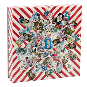 Christian Lacroix puzzle, whimsical illustrated cards on red and white stripe background