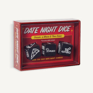 Date Night Dice. black dice in red box