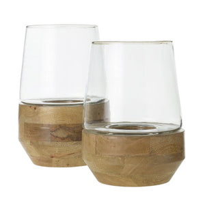 Set of terrariums with light wood base and glass top