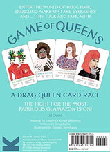Illustration of four drag queens cards, teal background. Game of Queens text on back of box