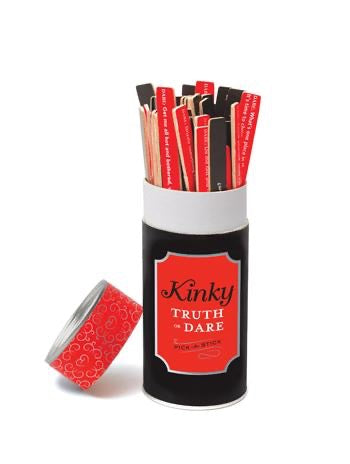 kinky truth or dare game - red and black tube with assorted red and black sticks. Lid tilted on side