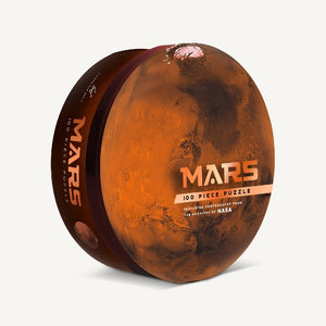 Mars puzzle in round box with full image of planet Mars