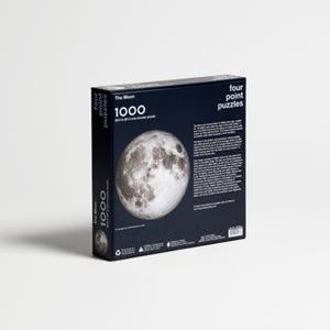 Moon puzzle, 1000 pieces, back angle view of box with text