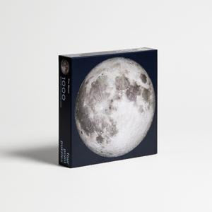 Moon puzzle, 1000 pieces, front angled view of box.