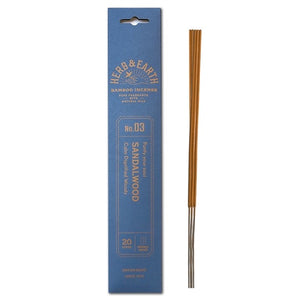 blue package with gold text and three incense sticks on right.