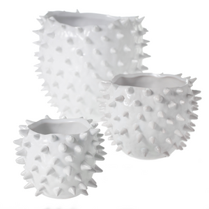 Set of 3 glossy white ceramic pots with spikes