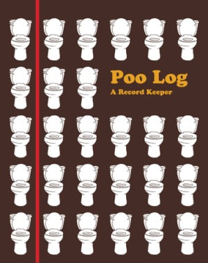Poo Log: A Record Keeper. Brown book with a series of white toilets. Red band and orange text.