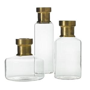 Propagation vases, glass base with brass neck
