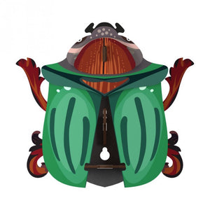 Ringo beetle wall cabinet, wings open with inside storage, green tones and brown accents