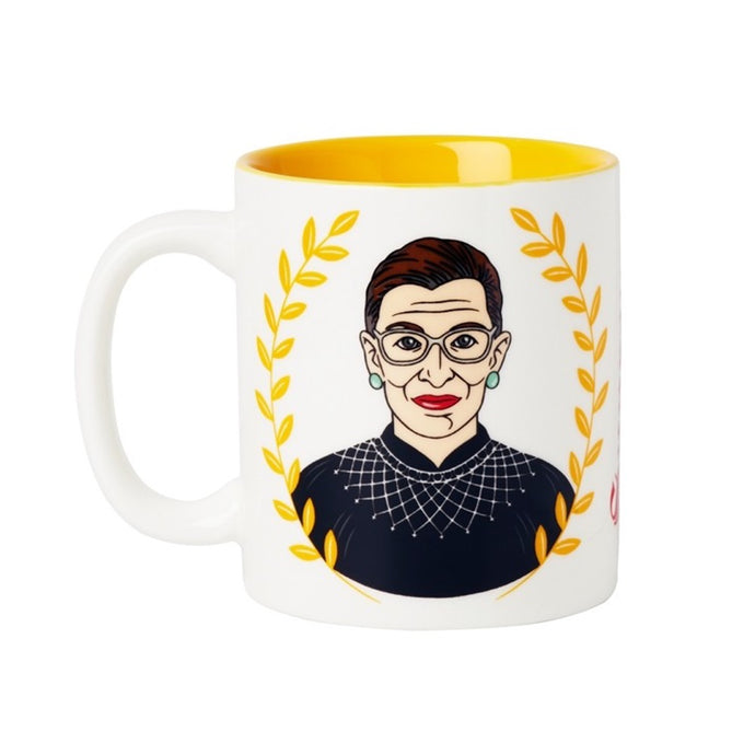Ruth Bader Ginsburg ceramic mug with yellow leaves framing image and yellow inside mug