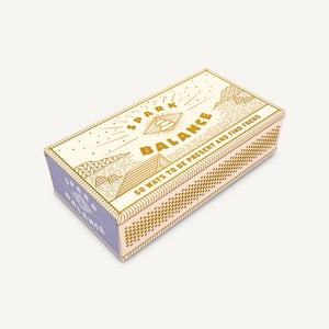 Spark Balance, 50 Ways To Be Present and Find Focus, beige box with gold mystical designs.