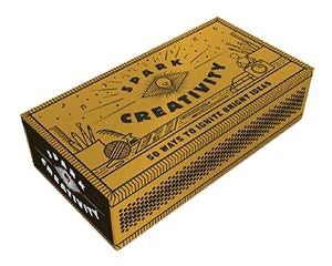 Spark Creativity, 50 Ways To Ignite Bright Ideas, gold box with black mystical designs.