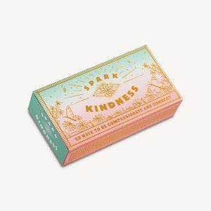 Spark Kindness, 50 Ways To Be Compassionate and Connect, pink and blue gradient box with gold mystical designs.