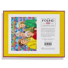 Golden Girls puzzle, multi-color palm leaves in background with Stay Golden text on top. Back of box