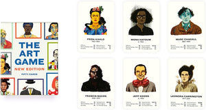 The Art Game New Edition Fifty Cards text.  Illustration of various artists with colored borders around each image. Sample of cards.